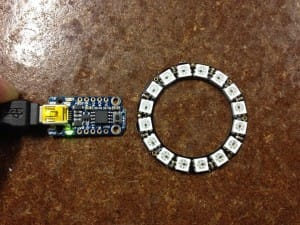 The main parts - Adafruit Trinket and some neopixal rings