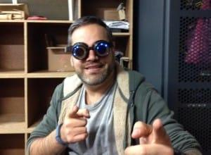 Gil testing his Cyberpunk goggles