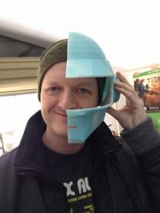 Dave is looking to get lucky! Half printed Daft Punk helmet.