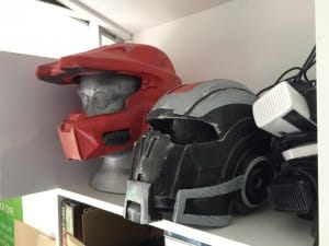 Halo and Mass Effects helmets ready for wearing.