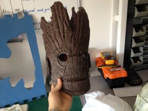 Close up of the Groot mask.