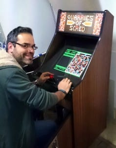 Gil with Screed games cabinet