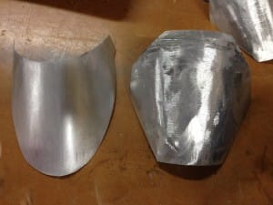 A aluminium piece before (right) and after (left) sanding