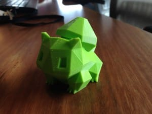 8 Bit Bulbasaur printed out and put together, ready to deliver his special cargo