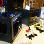 The Libraries' 3d printers with a selection of examples