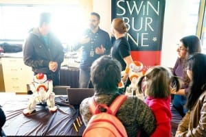 Gil talking with the Swinburne robotics crew at Mini Make Day