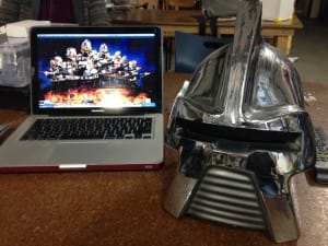 Helmet and Cylons from the show artwork