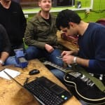 Guitar team working on their prototypes