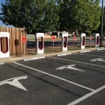 Six tesla quick charge stations
