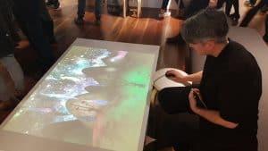 Floor projected video games