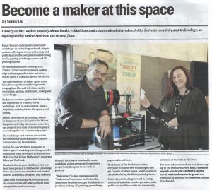 Makerspace article about the space and program at Library at the Dock